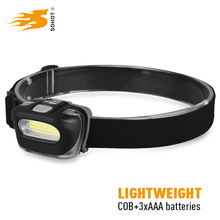 Waterproof COB led headlamp, lightweight head light led powered by dry battery for camping hiking jogging