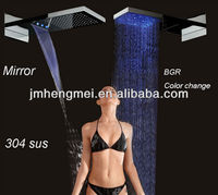 3 function led lighting 304 SS waterfall rainfall mirror Shower mixer