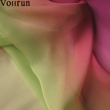 6mm Shaded Ombre Two Tone Silk Chiffon Fabric Pink to Green
