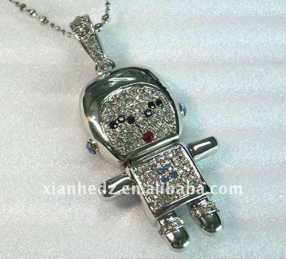 Hot jewelry robot usb flash disk/ thumb drive at factory price 1GB