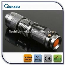 1/3 modes CREE Q5 logo projector zoom dimmer led flashlight
