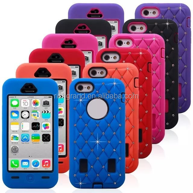 For iphone 5c hybrid armor defender skin case cover with diamond mobile phone accessory