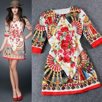 C85419A European high-end digital printing ladies round neck dress/floral pattern women dress