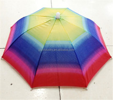 J1014 Cheap sun folding logo printed Advertising Head hat shape umbrella, umbrella hat for sale