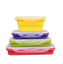 4 Pack (350ML , 540ML , 800ML , 1200ML) Elegant, Fashionable & Stackable Container Eco Silicone Collapsible Lunch Bento Box Mic