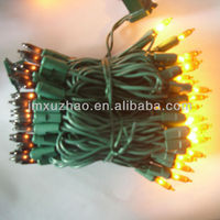 100L UL Christmas Mini Lights Colorful Plastic String Black And Gold Color Green Wire