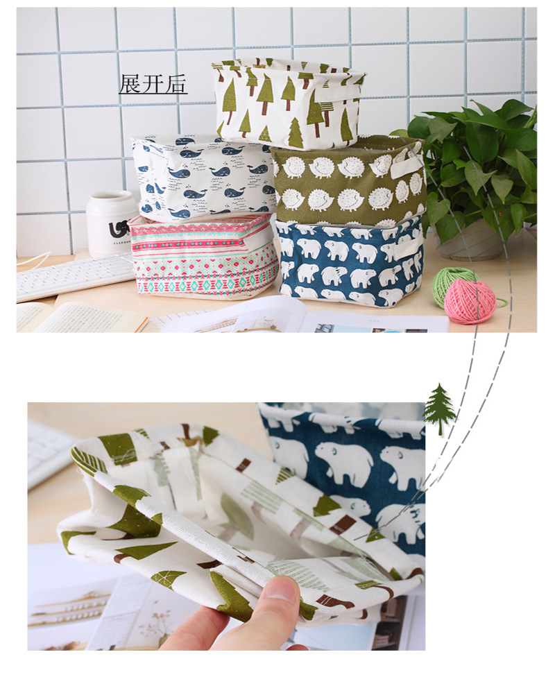 Handmade Wholesale Printed  Linen Cotton Storage Basket with Handle