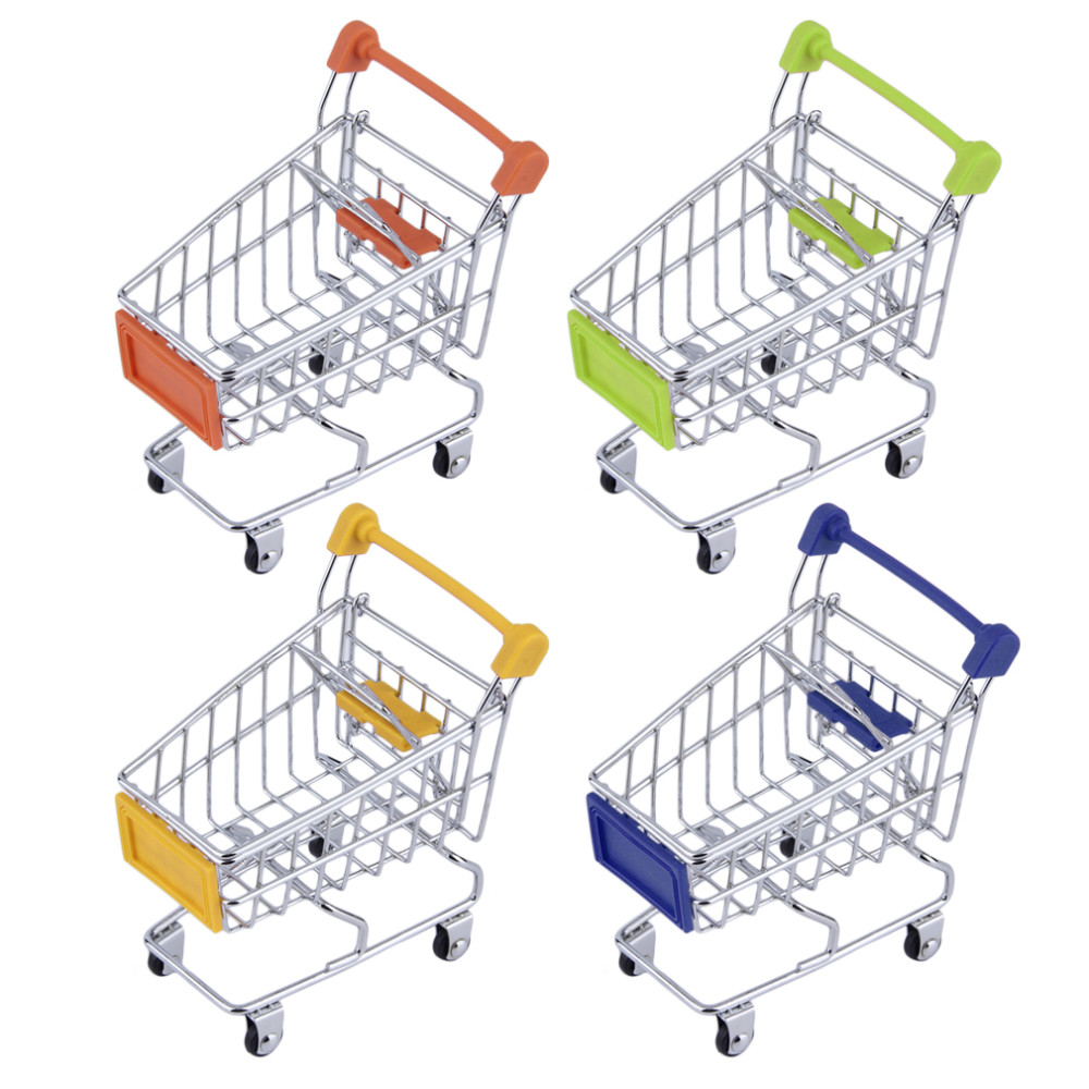 Mini Supermarket Hand Trolleys Mini Shopping Cart Desktop Decoration Storage Phone Holder Baby Toy