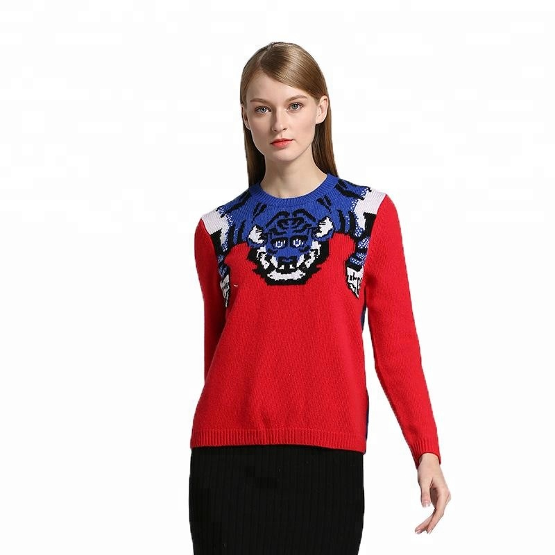 Blend Yarn Jacquard Knitted Fashion Custom Pullover Sweater Woman