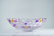 wholesale decorative glass fruit bowl crystal painting glass candy vegetable salad bowls