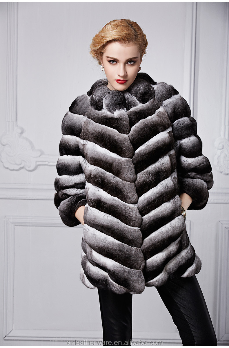 High Quality Factory Sale Customise Real Chinchilla Fur Coat
