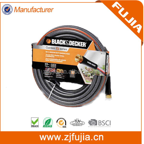 Accept OEM length and color 1/2'' <strong>PVC</strong> flexible reinforced garden hose with brass fittings