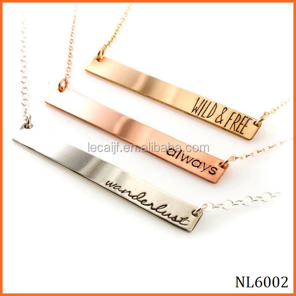 Yiwu Personalize Stamped customized jewellery in Silver Rose Gold Shiny stainless steel Short Bar Necklace