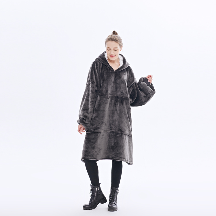 100% Polyester Super Soft Winter Double Side Flannel Women Winter Custom Blanket Hoodie Printing With Sherpa Sweater