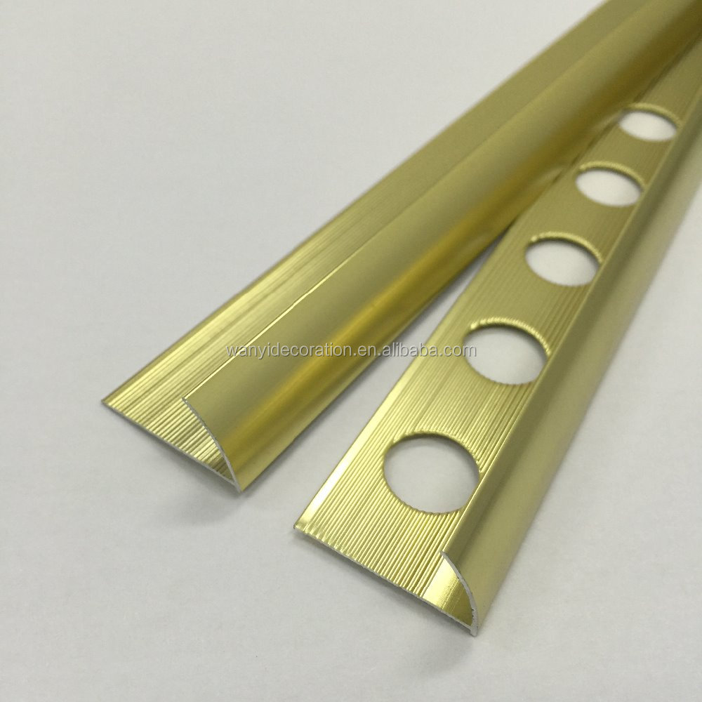 High quality factory direct 10mm round edge shining gold metal tile trim
