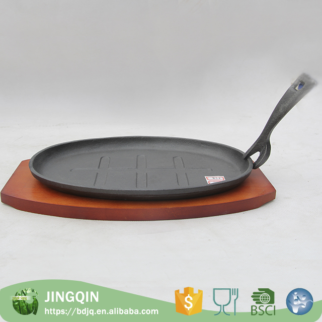 China wholesale black rectangle cast iron sizzler plate