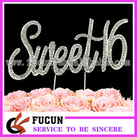 China wholesale crystal rhinestone happy Sweet 16 birthday cake topper party decorations
