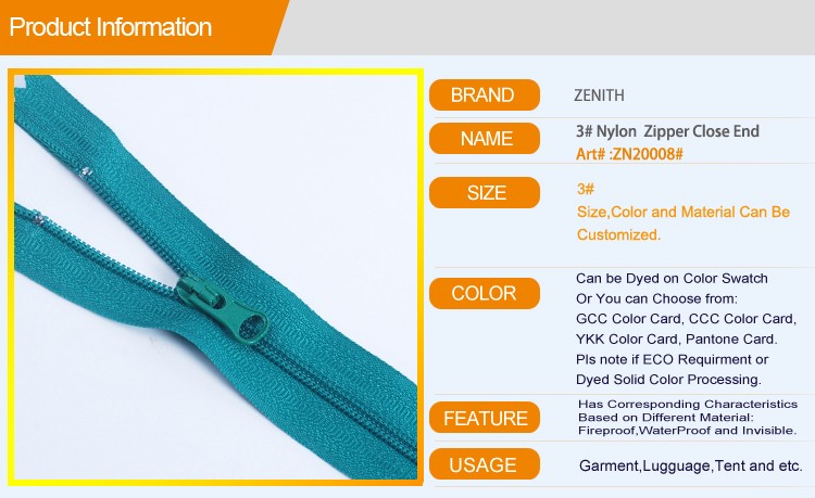 Eco-Friendly Metals Detector 3# Nylon Zippers Close End ZN20008