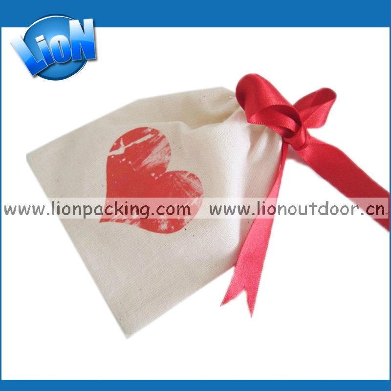 Top-grade Double Drawstring Christmas Wedding cotton Gift Pouch for Jewellery