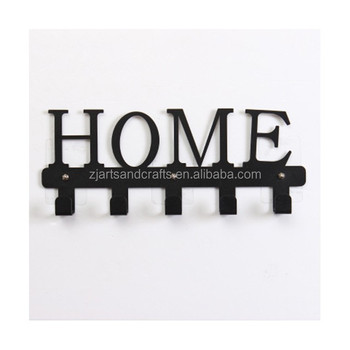Metal Wall-mounted HOME Shape Towel Clothes Hanging Rack Hooks Key Hanger