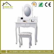 Wood dressing table with mirror and stool , wood dressing table