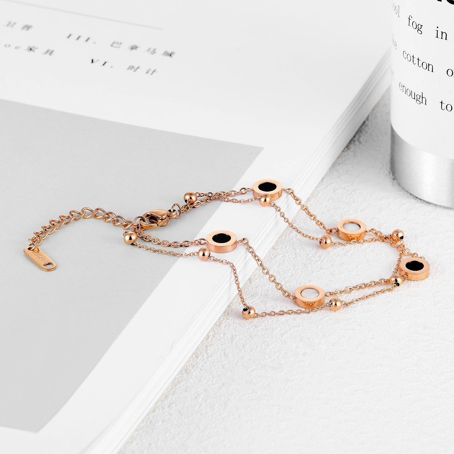 Simple Fashion Best Sale Double Layer Stainless Steel Chain Rose Gold Plated Custom Brand Shell Crystal Birthday Gift Bracelet