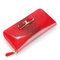 2016 hot cowhide leather wallets European fashion ladies bow knot coin purse for gifts Shiny patent banquet bags 421