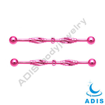 pink plating industrail barbell 14G surgical steel