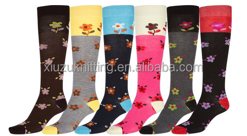 Ladies Cute Colorful Design or Solid Knee High Socks Assorted 6-Pack