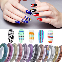 Free sample Beauty New stickers Mixed Colors Nail Rolls Striping Tape Line Nail polish stickers 3D Sticker Nail Art