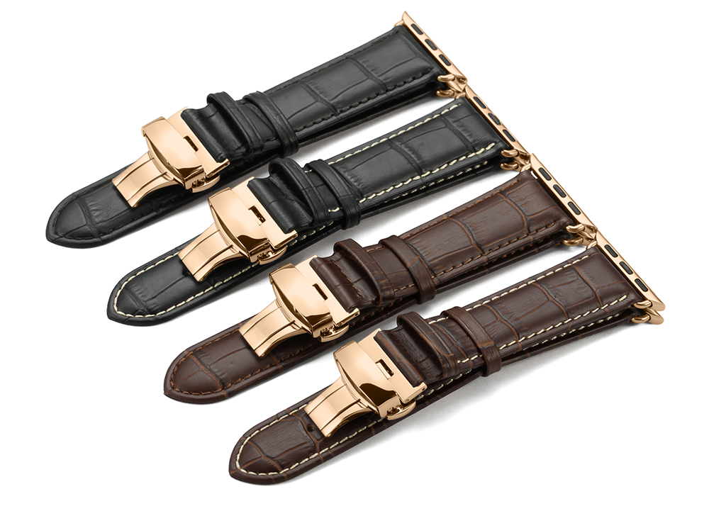 22mm 24mm black brown sliver buckle watch adapter watch band strap for apple watch band leather 38mm 42mm