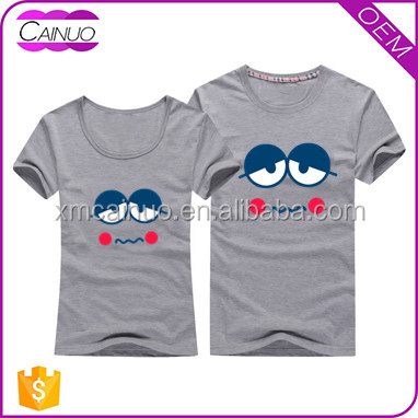 2016 Costom cotton T shirt, couple shirts design for lovers