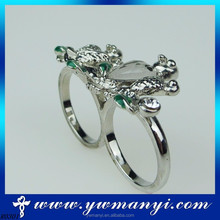 Perfect Color New Style Happiness Birds Crystal Shiny Two Finger Ring Design Wholesale R0301