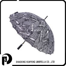 High frequency and low cost unique design newspaper print umbrella car logo printed auto stick/straight umbrella promotiona umbr