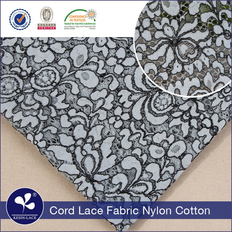new design nylon cotton polyester white black and white african lace fabric