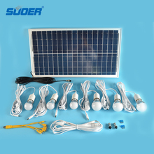 Suoer Hot Sale 18V Home Lighting Kit Solar Power System with 30W Solar Panel