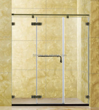 Bathroom Stainless Steel Straight Shower Screen Standing Glass Shower Enclosure Indoor Shower NO. 417