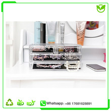 4 drawer big box transparent acrylic makeup organizer cosmetic Storage Display Boxes Two Pieces Set