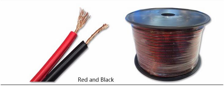 High end flexible speaker cable Tinned copper 2 CORE transparent with red line