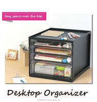 Plastic document tray top 4-drawers organizer made in japan