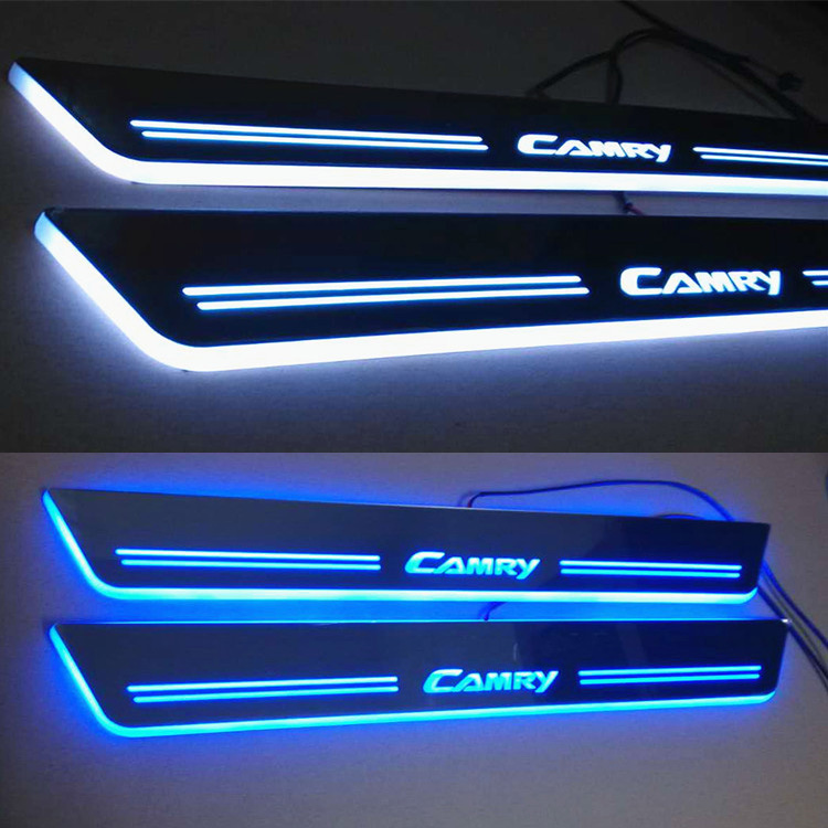 Waterproof welcome pedals door sill led moving door sill scuff plate for TToyota Camry