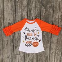 Fall baby girls pumpkin kisses wishes boutique top t-shirts children clothes orange icing sleeve cotton top raglans kids wear