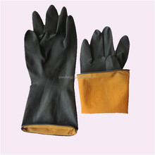 Heavy duty anti - corrosion Chemical Resistant black Latex industrial gloves