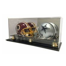 New Double acrylic Football Mini Helmet Display Case with Mirror Back and Black Base