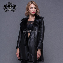 Factory Price Best Quality Double Face Clothing Manufacturers Ladies Mid Long Black Coats Winter Fancy Leather Jacket