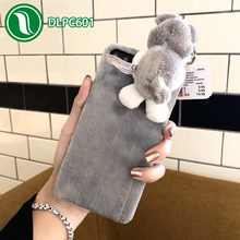 Korean cute dog stereo cover cell phone case plush hard PC phone cover case for iphone X
