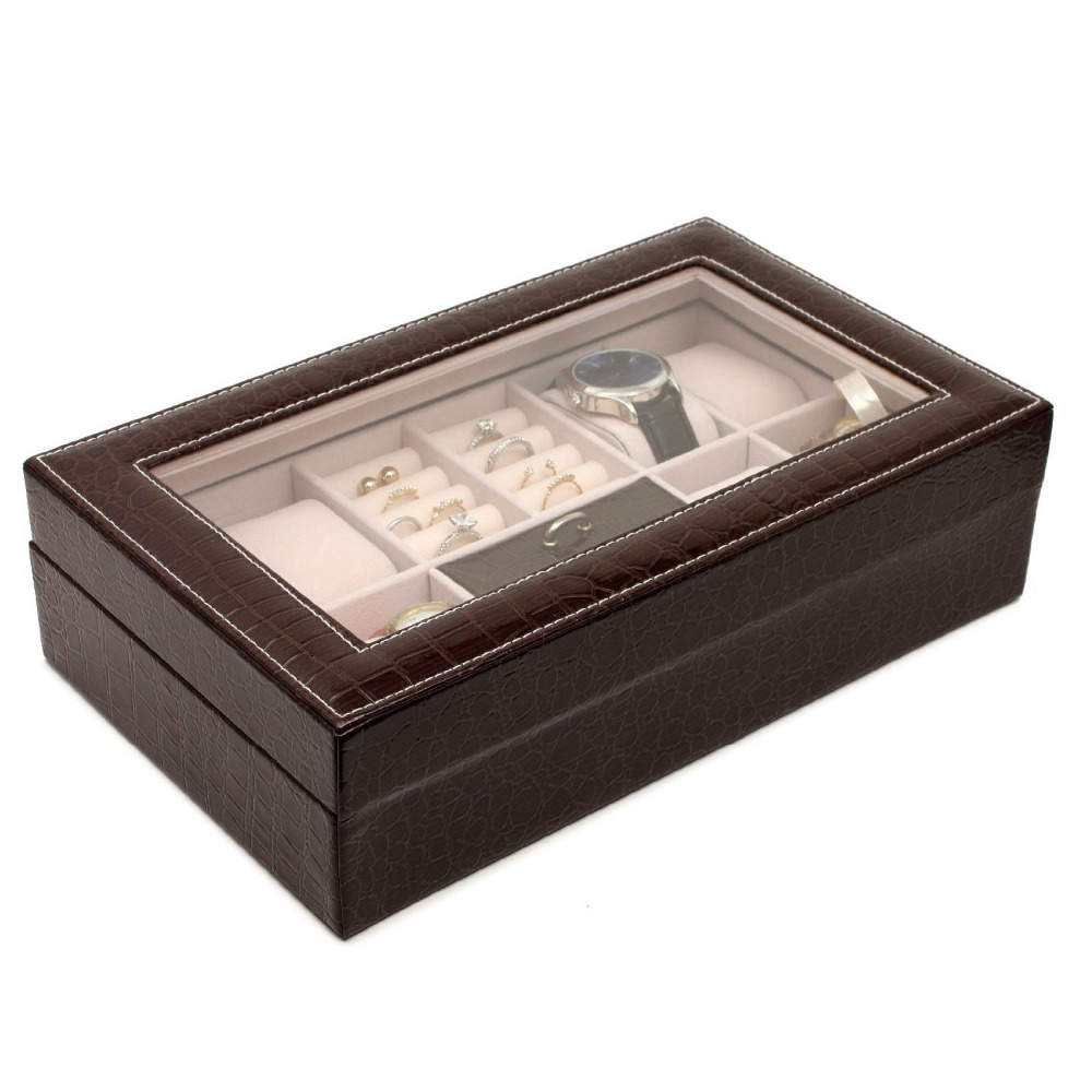 Glass Top Jewelry Ring Storage Box 8 Grid Watch Leather Box Display