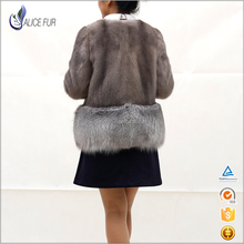 Genuine Ladies Short Style Mink Fur Coat Winter Jacket with Cross Fox Fur Bottom Hem
