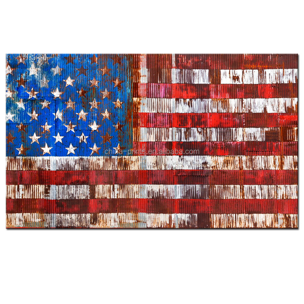 USA American Flag Canvas Wall Art Vintage Flag on Rusty Fence Abstract Image Picture Print on Canvas