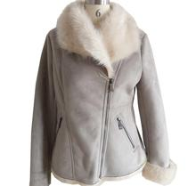 Girls Fashion Oblique zipper women's jackets fur lamb stitching short jacket